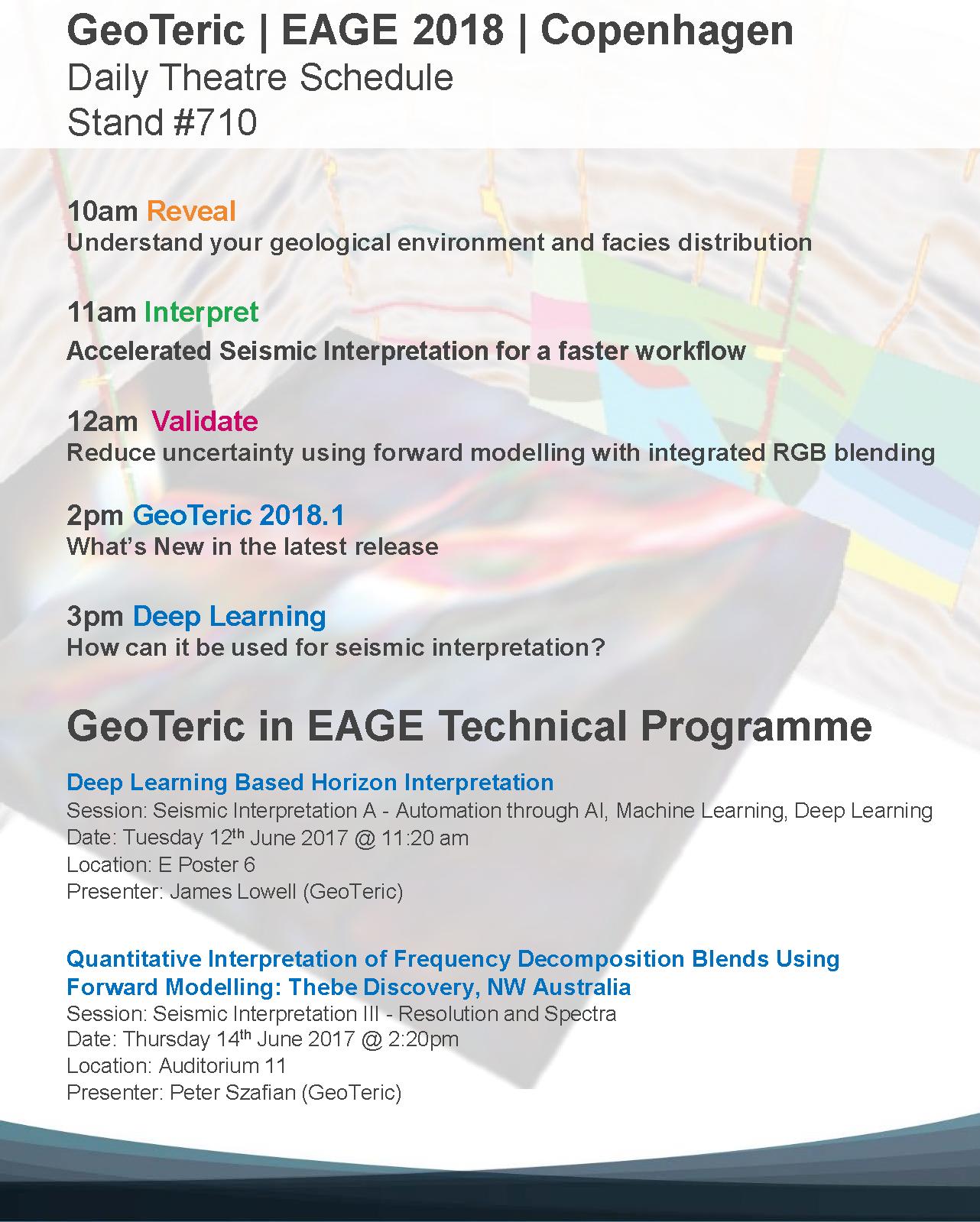 EAGE 2018 Presentation Agenda